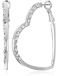 Womens Heart Shaped Clutchless Hoop Earrings