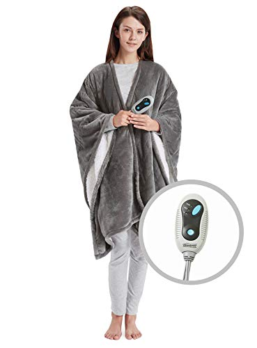 "Beautyrest Ultra Soft Sherpa Berber Fleece Electric Poncho Wrap Blanket Heated Throw with Auto Shutoff 50"" W X 64"" L Inches Grey"