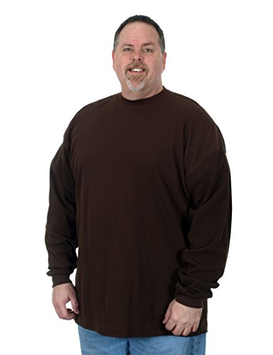 Mens Waffle Knit Tees - Men's Long Sleeve Waffle Knit T- Shirt a Plain Sweatshirt in Solid Brown