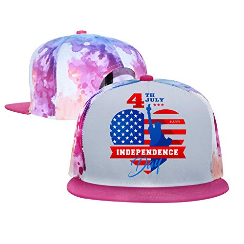 DHKols 4th of July Hip Hop Caps Unisex Single Breasted Adjustable Fashion Hats Pink