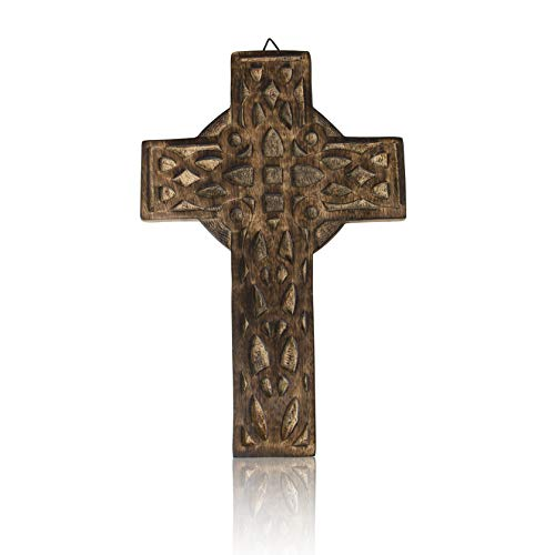- Wooden Religious Catholic Crucifix Cross Wall Hanging 12 x 8 Inches French Plaque Floral Carvings Living Room Home Decor Accent Church Chapel Altar Wall Art Decor Display Antiqued Rustic Finish