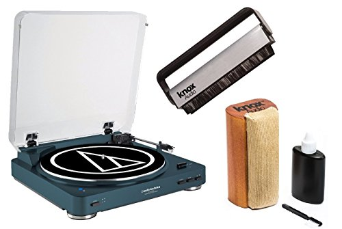 Audio Technica AT-LP60NV-BT Bluetooth Turntable -Navy w/ Knox Brush Cleaning Kit by Audio-Technica
