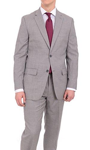 Light Elba Two (Tasso Elba Classic Fit Light Gray Stepweave Two Button Wool Suit)
