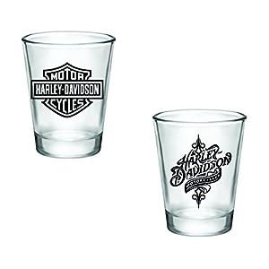 Gift Pack - Harley Davidson Logo and Swirl Shot Glasses - Set of 2 (2oz) - Great Gift Idea