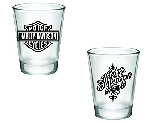 Gift Pack - Harley Davidson Logo and Swirl Shot Glasses - Set of 2 (2oz) - Great Gift Idea
