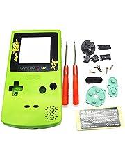Carcasa Carcasa Carcasa Reemplazo de color verde, para consola For Nintendo Game Boy Color GBC, Portector de pantalla Pikachu / Botones / Tornillos / Almohadillas de goma / Destornillador / Pegatina