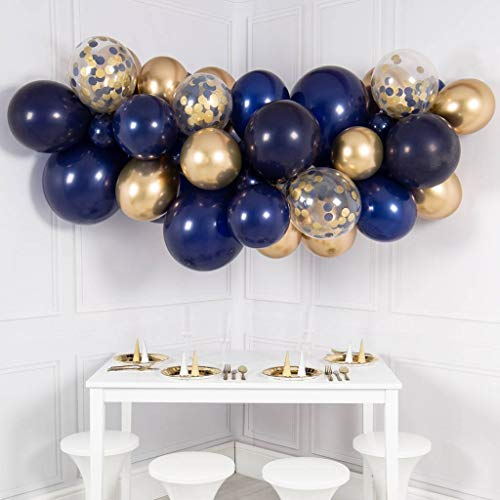 (Navy Blue Balloon Garland Kit, 50PCS 12Inch Balloon Garland Including Navy Blue Chrome Gold & Confetti Balloons Decorations Backdrop Ideal for Royal Birthday Baby Shower Party)