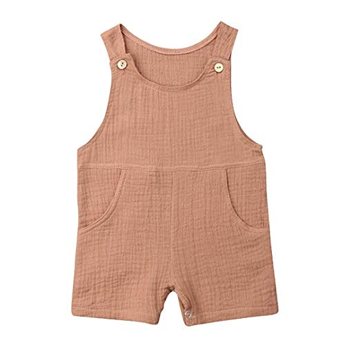 (Newborn Baby Boys Girl Romper Sets Linen Sleeveless Tank Casual Bodysuit Jumpsuit Summer Outfits Clothes 0-18 Months (Brown, 3-6 Months))