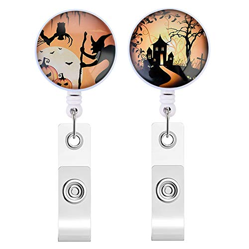 Souarts 2PCS Badge Holder Retractable Badge Reel Clip ID Protection Clip Badge Holder Clip Easy to Use Resistant Halloween Pumpkin Witch Bats Moon Castle and Tree