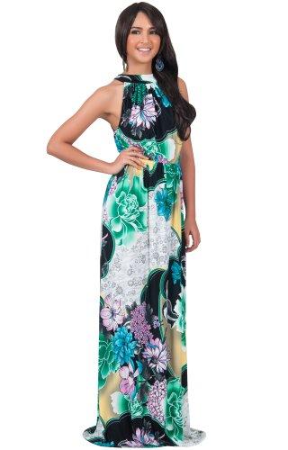 KOH KOH® La Mujer Vestido maxi cuello halter floral largo Green