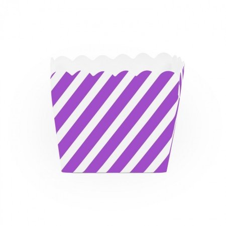 Dress My Cupcake Striped Square Loaf Pan Favor Box (Set of 12), Purple