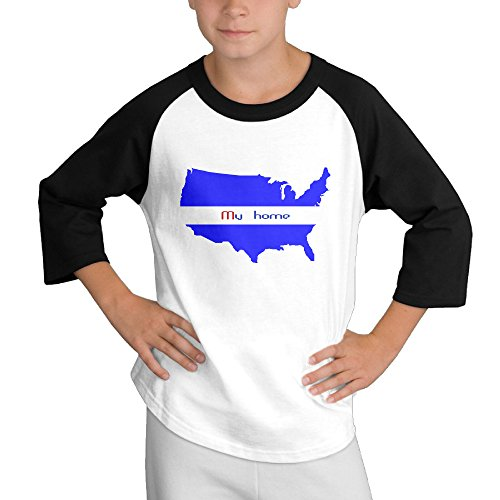 Price comparison product image MULTY9 USA Map - My Home Child Youth 3/4 Baseball Tee X-Large
