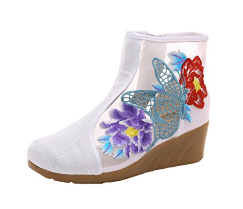 AvaCostume Women Hollow Out Butterfly Embroidery Organza Linen Wedge Sandal Shoes Beige