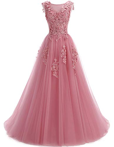 Ever Girl Women's Sweep Lace Appliques Scoop Collar Tulle A-Line Prom Dresses Pale Mauve - Sweep Scoop A-line