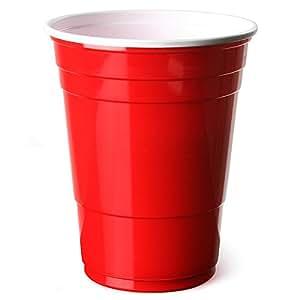 Vasos rojos americanos para fiesta 16 oz / 455ml - Pack de 50 | bar@drinkstuff Vasos rojos - Rubí, Manzana roja, Vasos de plástico - Vaso desechable, Material para fiesta, Accesorios para fiesta