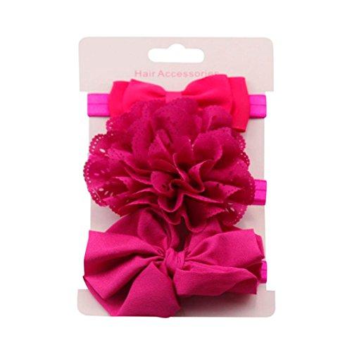 Clearance! 3pcs Baby's Headbands Girl's Cute Hair Bows Hair Bands Newborn Headband (Hot Pink) by Bookear (Image #1)