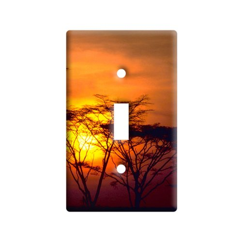(Africa African Sunset - Plastic Wall Decor Toggle Light Switch Plate Cover)
