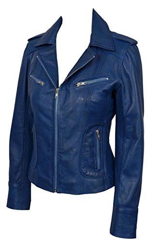 Leather Délavé Style Nappa Motard Soft Mesdames 9823 Réel Jacket Motorcycle Bleu Biker vq4xwO6