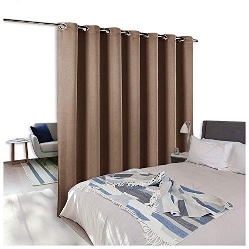 Room Divider Curtain Screen Partitions - NICETOWN Blackout Room Divider Blackout Patio Door Curtain Panel for Glass Window/ Sliding Door (1 Panel, 8.3ft wide x 7ft long, Cappuccino)