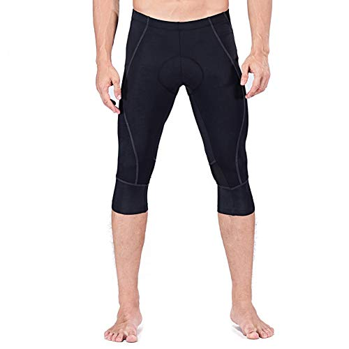Sportneer Men's 4D Padded Cycling Pants, 3/4 Capri Shorts Tights Leggings for Bike Bicycle