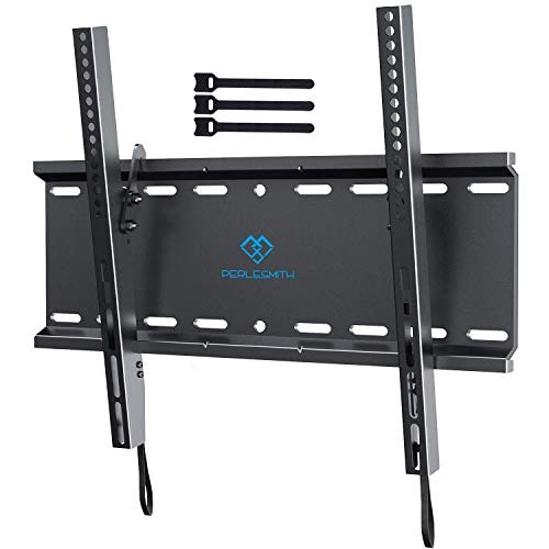 Tilting TV Wall Mount Bracket Low Profile for Most 23-55 Inch LED, LCD, OLED, Plasma Flat Screen TVs with VESA up to 115lbs 400x400mm - Bonus 3 Cable Ties by PERLESMITH