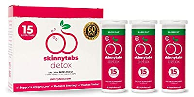Skinnytabs -- Berry Flavor -- Effervescent Skinny Tabs Detox -- 15 All-Natural Superfoods, Laxative-Free, 30 Servings -- Sugar-Free, Low Carb -- Flush Toxins, Reduce Bloating & Supercharge Metabolism
