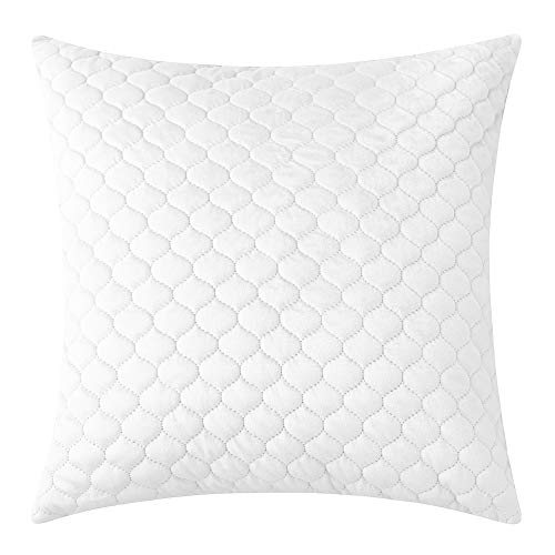 Rythome Decorative Throw Pillow Cover for Bedding, Comfortable Accent Cushion Sham Case for Couch Sofa, Soft Solid Quilted Velvet Zipper Hidden - 20