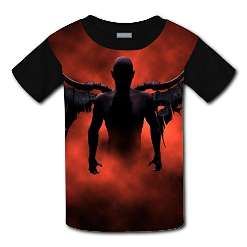 Qualra Kids Fashion Devil Wings 3D Print T-Shirts Short Sleeve Tees