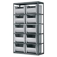 AKRO-MILS AS187913017 18-Inch D by 42-Inch W by 79-Inch H Powder Coated Steel Shelving Unit with 6 Shelves and 12 13017 Stak-N-Store Bins, Grey