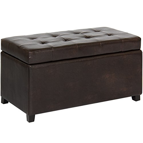Best Choice Products Tufted Leather Storage Ottoman Bench Footrest for Home, Living Room w/Lift Open Lid, Child Safety Hinge, and 440lb Capacity - Brown by Best Choice Products