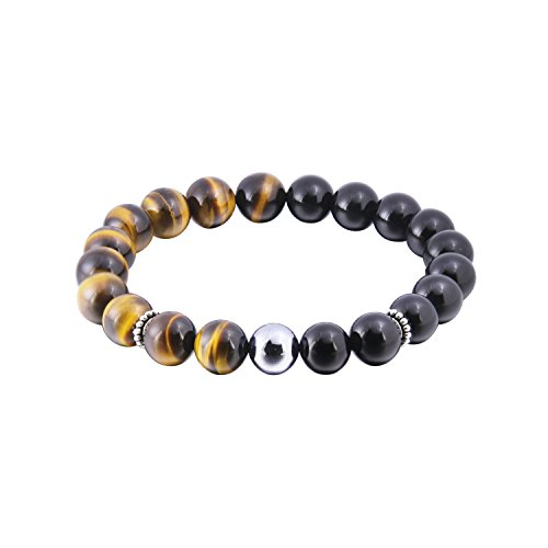 Haskare Healing Bracelet Men's Chakra Healing Stone Bracelet Tiger Eye Terahertz Obsidian Beads Bracelets -
