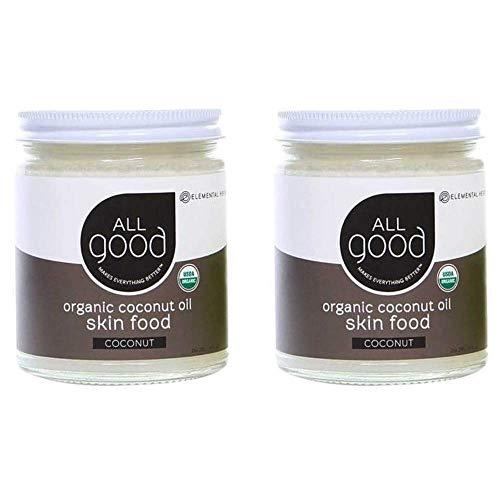 - All Good Organic Coconut Oil Skin Food - Natural Moisturizing Skin Care & Massage Oil - Non GMO - Vegan (2-Pack) (Coconut)