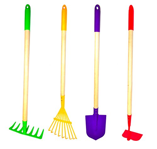 1 Wheelbarrow Parts - G & F Products JustForKids Kids Garden Tool Set Toy, Rake, Spade, Hoe and Leaf Rake, reduced size, 4-Piece