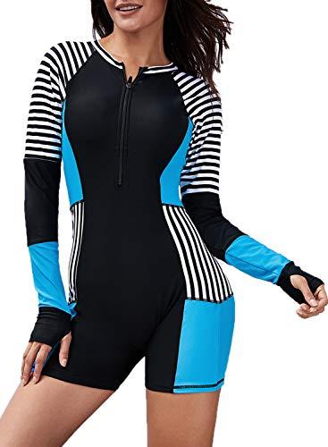 - Astylish Women's Stripe Color Block One Piece Active Rashguard Swimming Swimsuit Retro Surf UPF 50+ Long Raglan Sleeve Zip Front Modest Beach Sexy Holiday Rash Guard Swimwear Medium 8 10 Blue