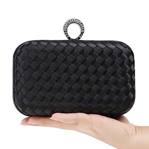 Clutch Pochette Sac à Soirée Fête Bandouliere Femmes Bourse Main Sac Maquillage Chaîne Black Bal Mariage pour RWHP5Pcp01