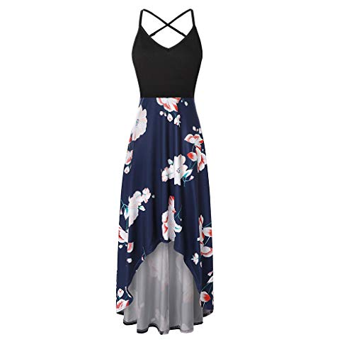 HHei_K Ladies Fashion Casual Sexy Sleeveless Backless Printed Halter Mid Calf Skirt Party Dress for Women Casual Summer Navy