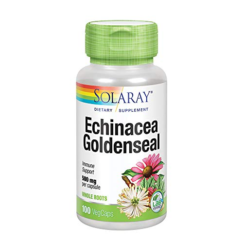 Echinacea Goldenseal Capsules - Solaray Echinacea Root with Goldenseal Root Capsules, 500 mg, 100 Count