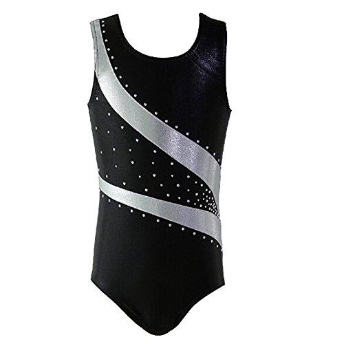 Shiny Black Stripe - Girl Shiny Stripes Metallic Athletic Ballet Dance Tank Gymnastics Leotard Outfit White Bars Black Size 6