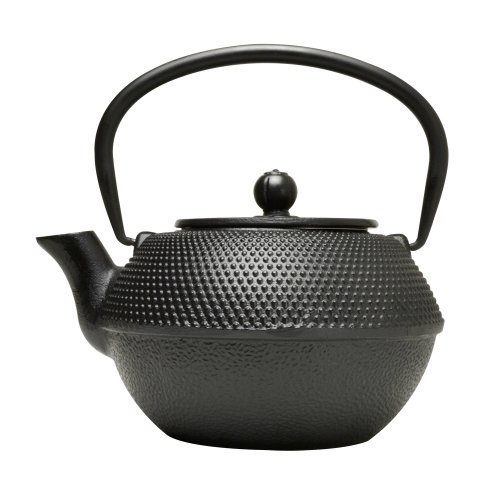 Primula Cast Iron Teapot - Durable Cast Iron with a Fully Enameled Interior - Beautiful Hammered Design - 36 oz. - Black (PCI-7440)