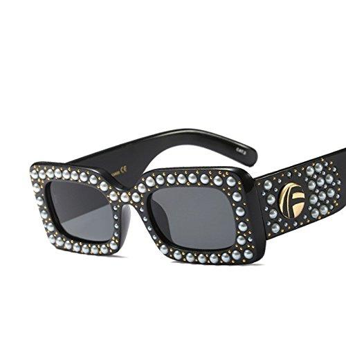 Moda Gafas De Sol Gafas De Negro Rectángulo Mujer Sol Mujer Perla Cuadrado TIANLIANG04 qCwUYx4A