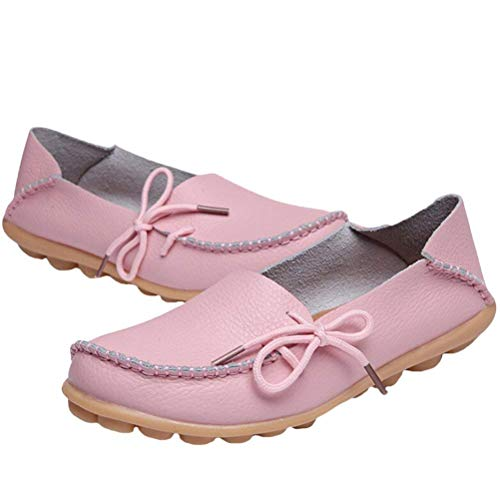 Chaussures Travail Compensées Semelles pink Uk Femmes Taille 5 À Des Et Le 3 Pour Fuxitoggo Confort Mocassins Style 1 coloré 2 En Cuir wq7xvXO