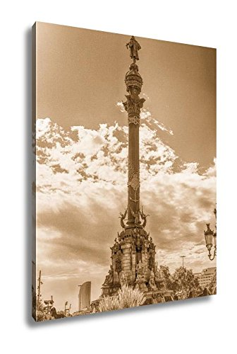 Ashley Canvas Columbus Monument In Barcelona Catalonia Spain, Wall Art Home Decor, Ready to Hang, Sepia, 20x16, AG6373849 by Ashley Canvas