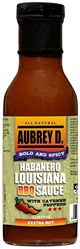 (Aubrey D. Habanero Louisiana BBQ Sauce, Gluten Free Bold and Spicy Hot for Barbecue Chicken Wings, Cajun Crawfish (2)