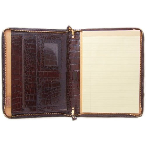 Pratesi Unisex [Personalized Initials Embossing] Italian Leather Dante King Portfolio Notepad Holder in Brown by Pratesi