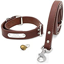 """Soft Leather Padded Custom Dog Collar and Leash Set with Personalized Engraved Nameplate,Fit Small Medium Large Dogs (L(17.7""""-21.6""""), Brown)"""