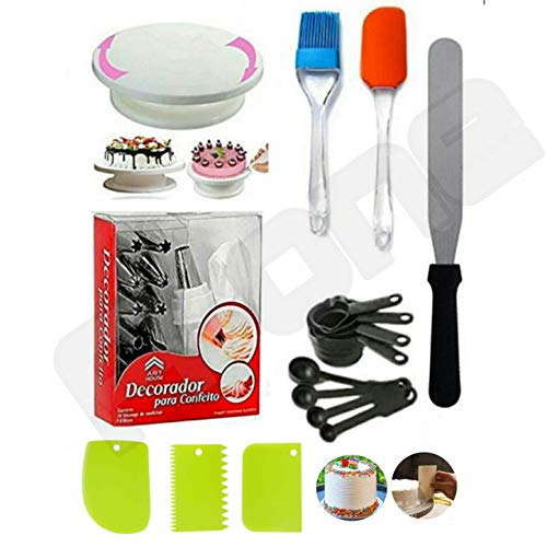A-ONE Cake Making Supplies Cake Turntable & Nozzle Set & Spatula, Brush & Measuring Cup & Spoon and Pallet Knife & Scraper for Cake
