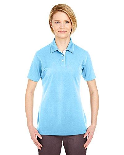 Ultraclub Ladies' Platinum Performance Birdseye Polo Shirt, Columbia Blue, Large -