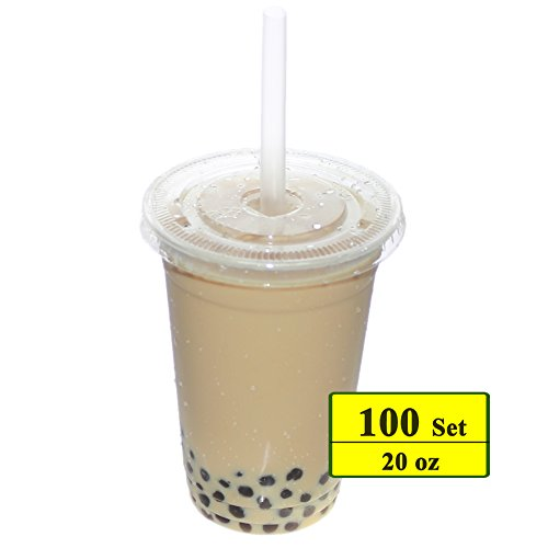 Benail 100 Sets 20 oz Clear Plastic Cups with Lids and Straws Disposable Cups Perfect for Cold Drinks, Iced Coffee, Tea, Smoothie (20 Oz Styrofoam Cups)
