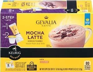 Gevalia Mocha Latte Espresso 6 Keurig K-Cups + 6 Froth Packets -  043000057780