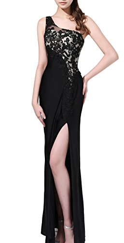 Butmoon Women's One Shoulder Side Split Black Formal Evening Gowns